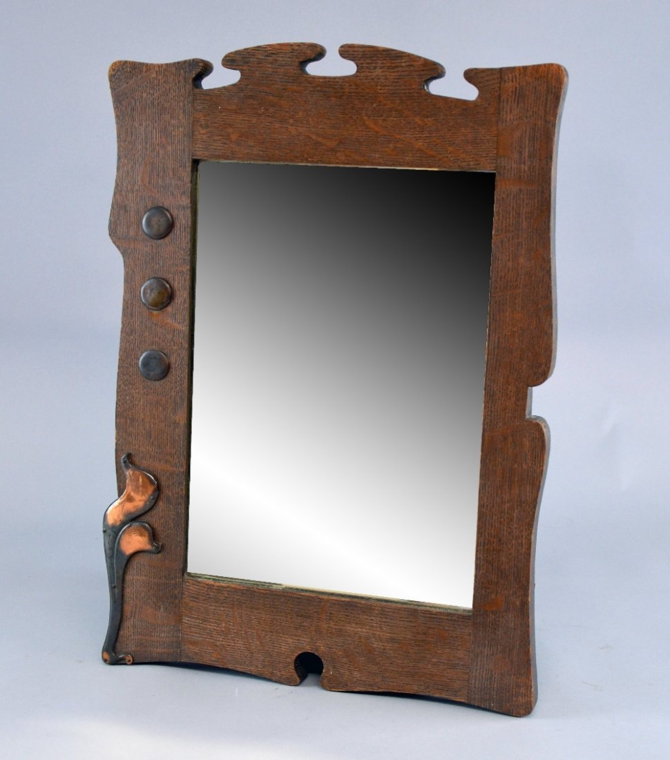 Arts and crafts oak framed bevelled mirror with copper