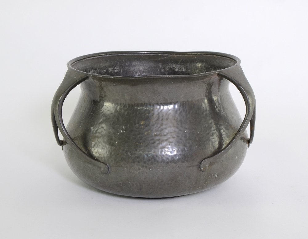Liberty Tudric pewter three handled jardiniere with