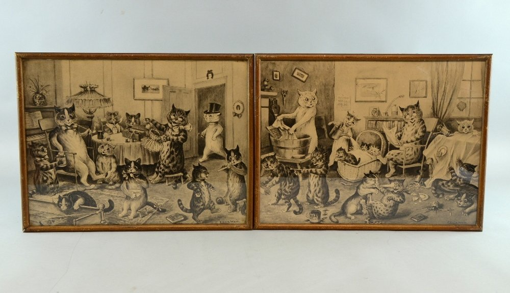Pair of early 20th century Louis Wain cat prints Cats