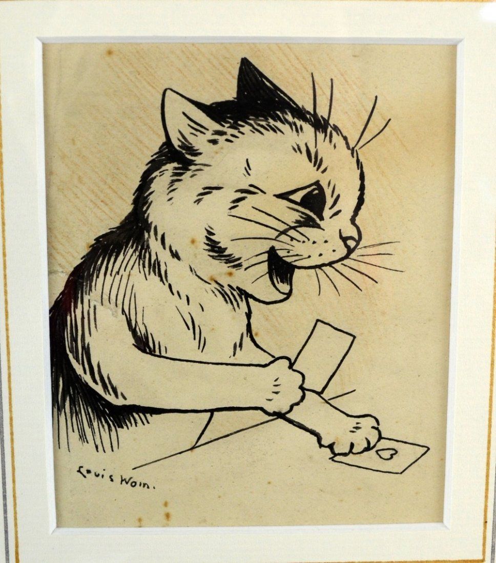 Louis Wain pen and ink, cat holding cards, signed