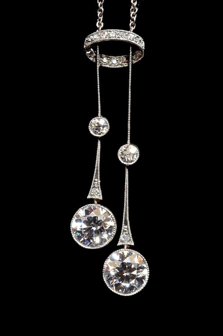 Art Deco diamond negligee pendant necklace four stones