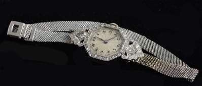Art Deco diamond set cocktail watch 18ct white gold on