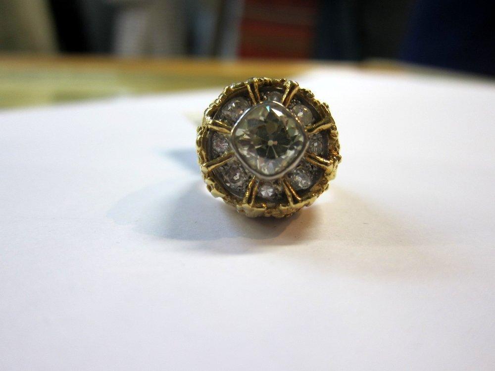 Fancy yellow diamond set ring, central diamond cushion - 2