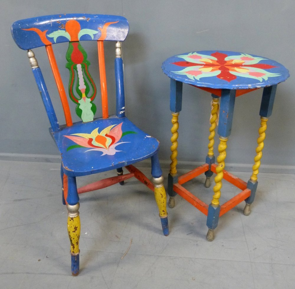 A rare decorated table and chair from the Apple