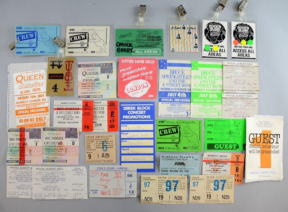 Collection of music tickets, stubs, back stage and crew