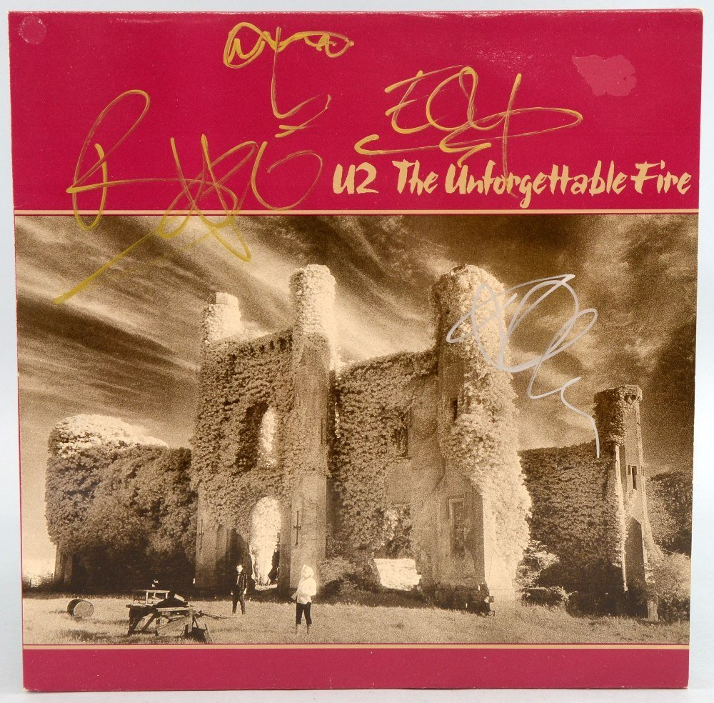 U2 'The Unforgettable Fire' vinyl LP signed to the