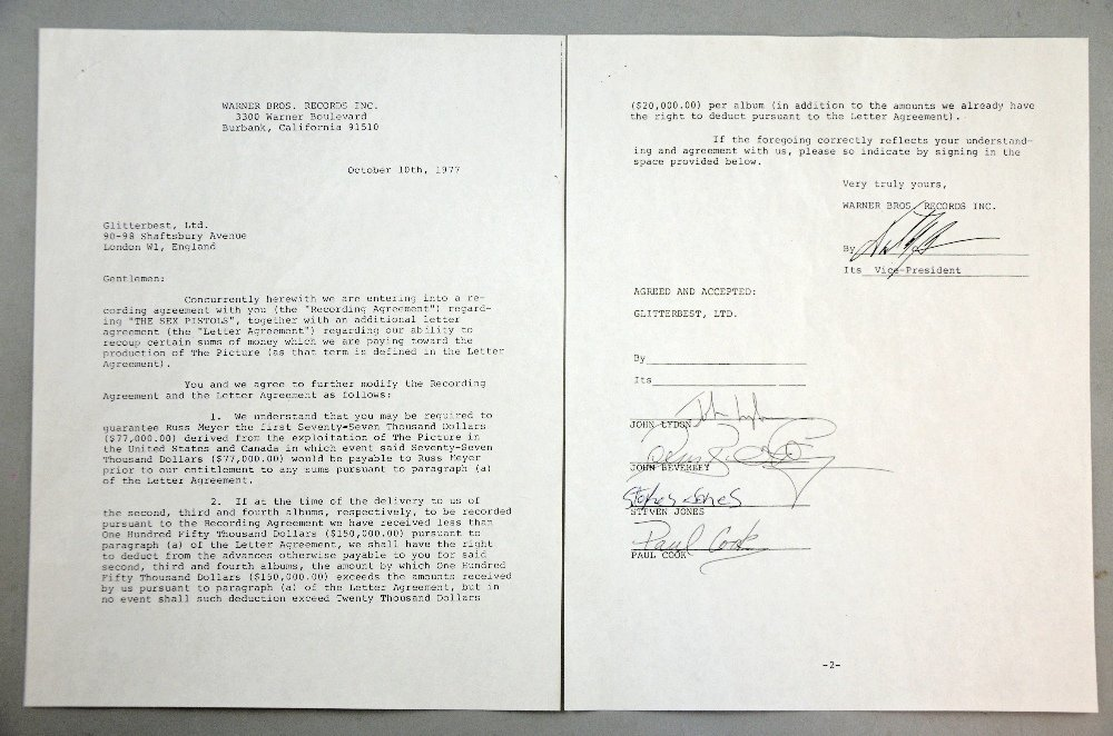 The Sex Pistols, a contract between Warner Bros Records