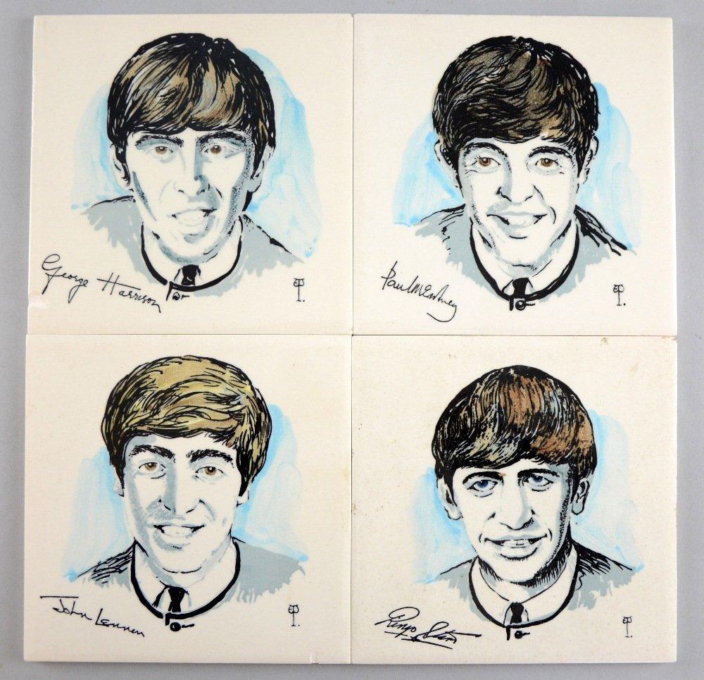 The Beatles an original set of 4 Dorincourt Tiles from