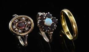 Gold wedding band 22 ct garnet and opal ring in floral