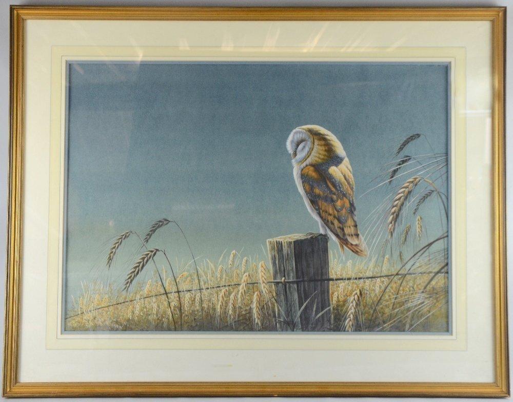 Warwick Higgs, ' Barn Owl at dawn' watercolour unsigned