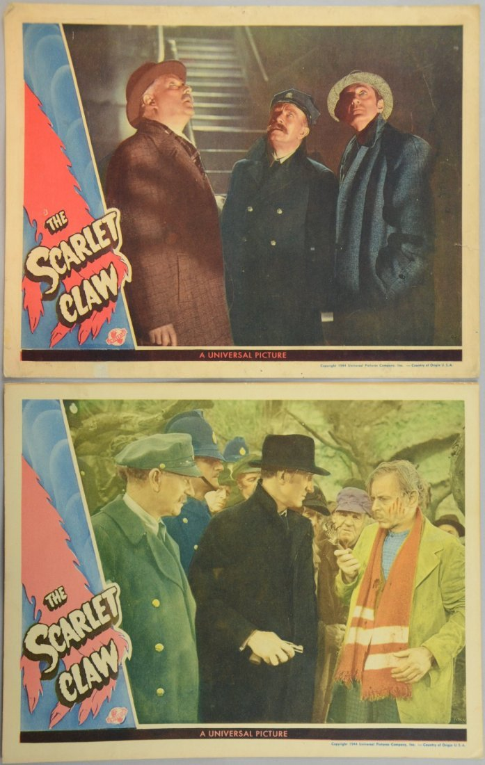 The Scarlet Claw (1944) 2 US Lobby cards, Mystery