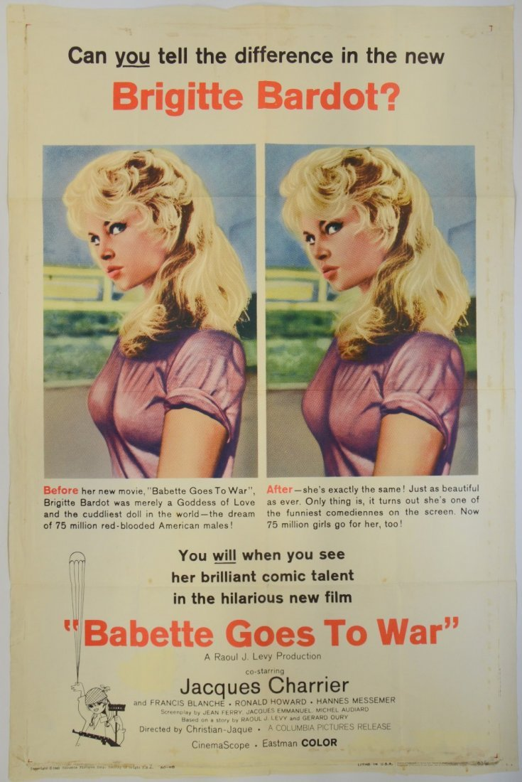 Babette Goes to War (Columbia, 1960) One Sheet, Comedy