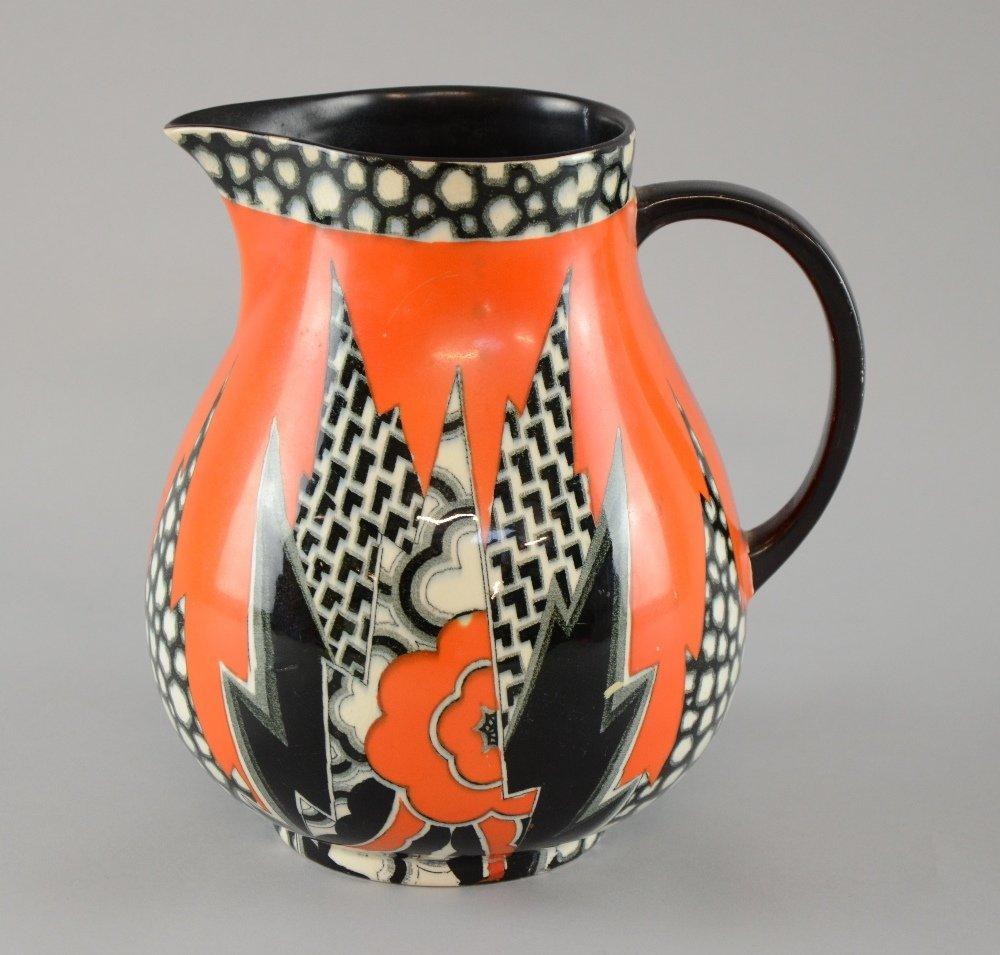 Crown Devon Fieldings an unusual 'jazzy' Art Deco jug - 2