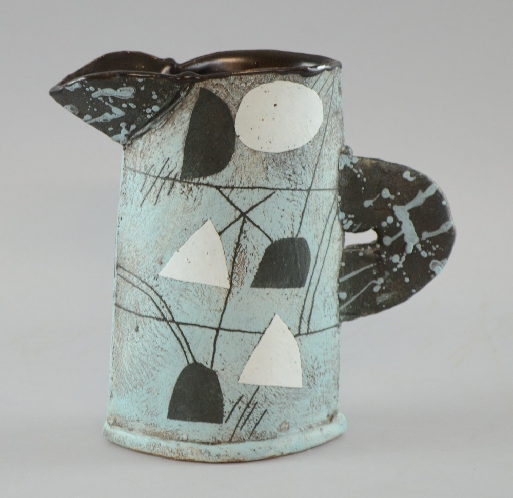 John Maltby jug studio pottery sloping slab built vase