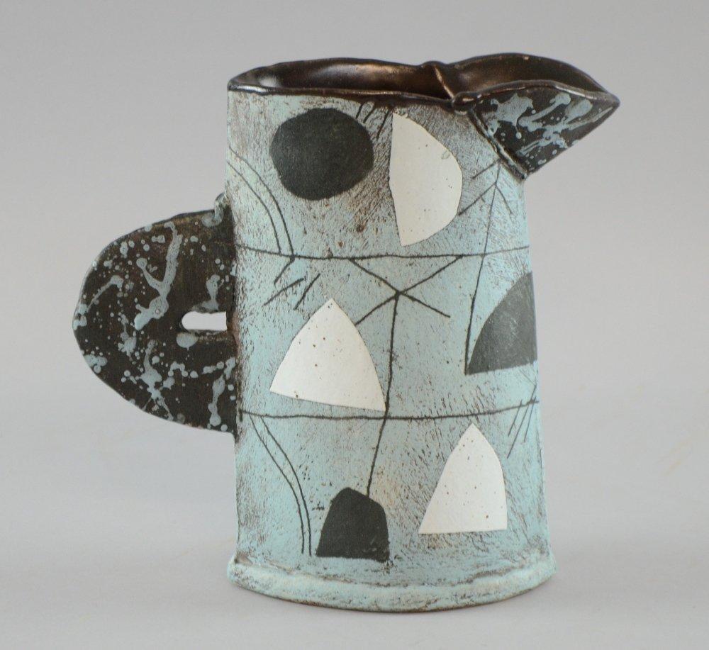 John Maltby jug studio pottery sloping slab built vase - 2