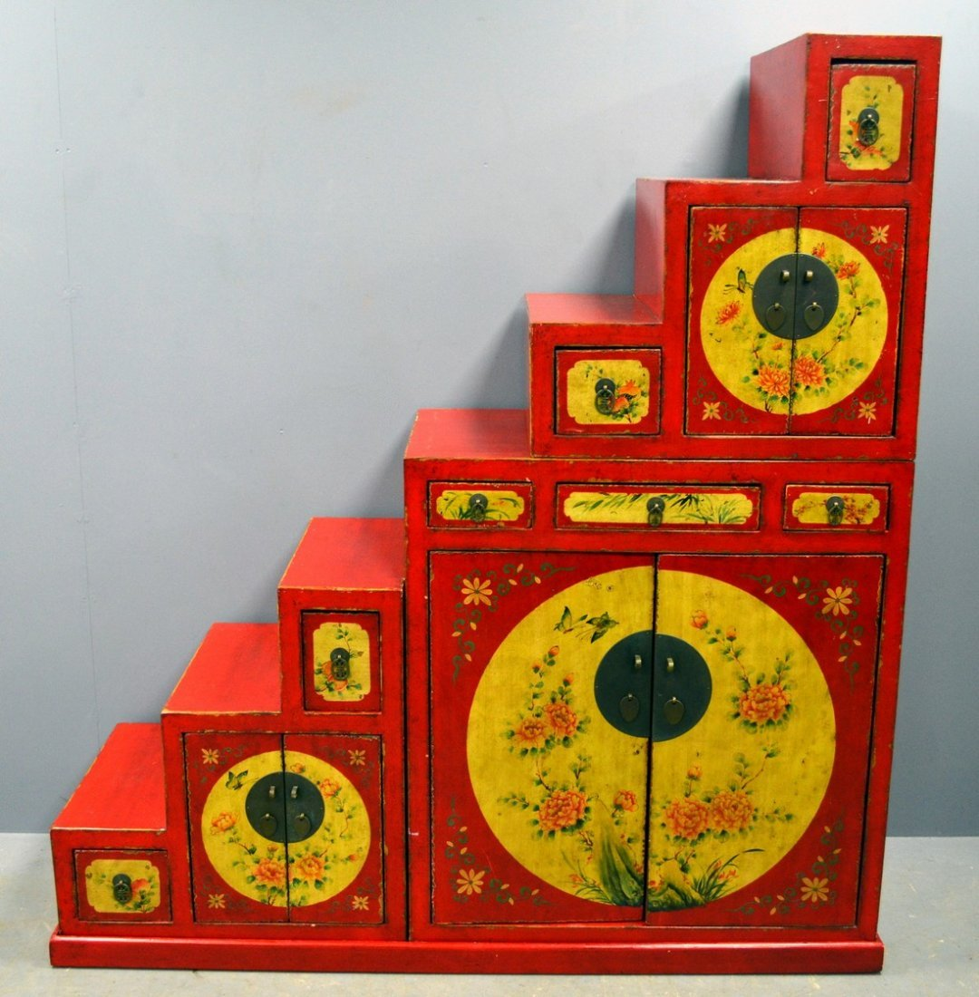 Chinese red lacquered and painted seven step