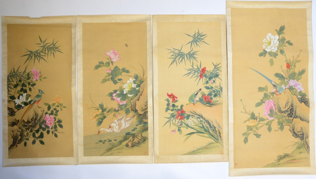 Four 20th century Chinese paintings depicting birds in