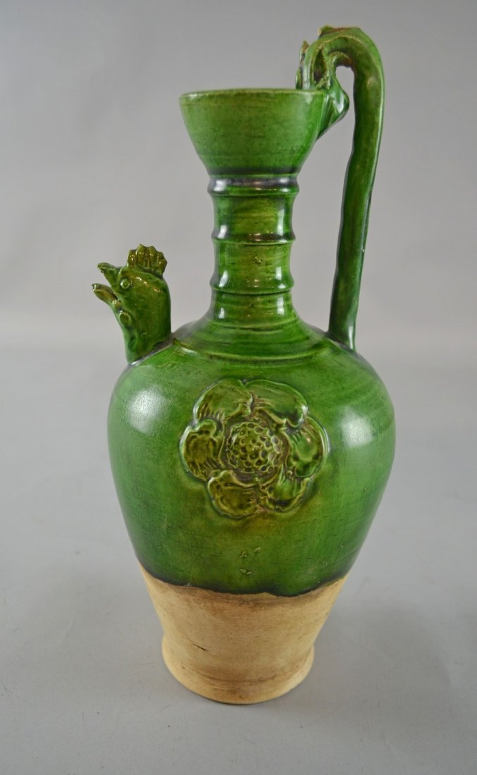 Chinese Tang Dynasty ewer with partially green glazed
