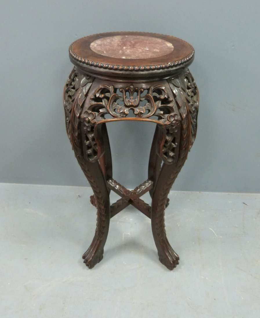 Chinese rosewood and marble topped vase stand with