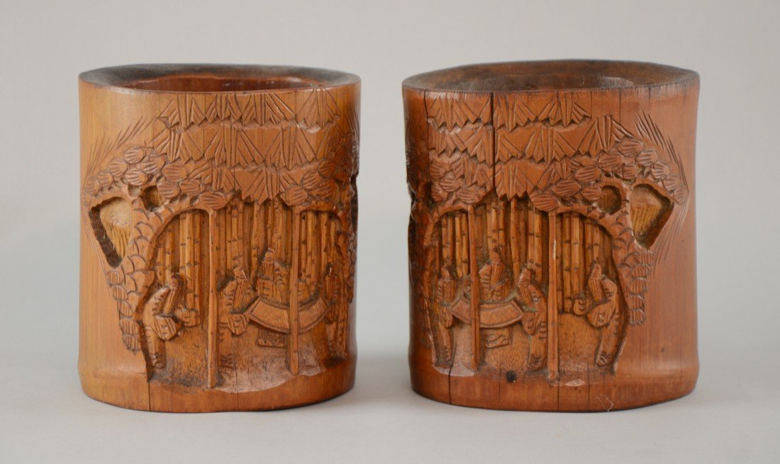 Pair of late 19th/ early 20th century Chinese bamboo