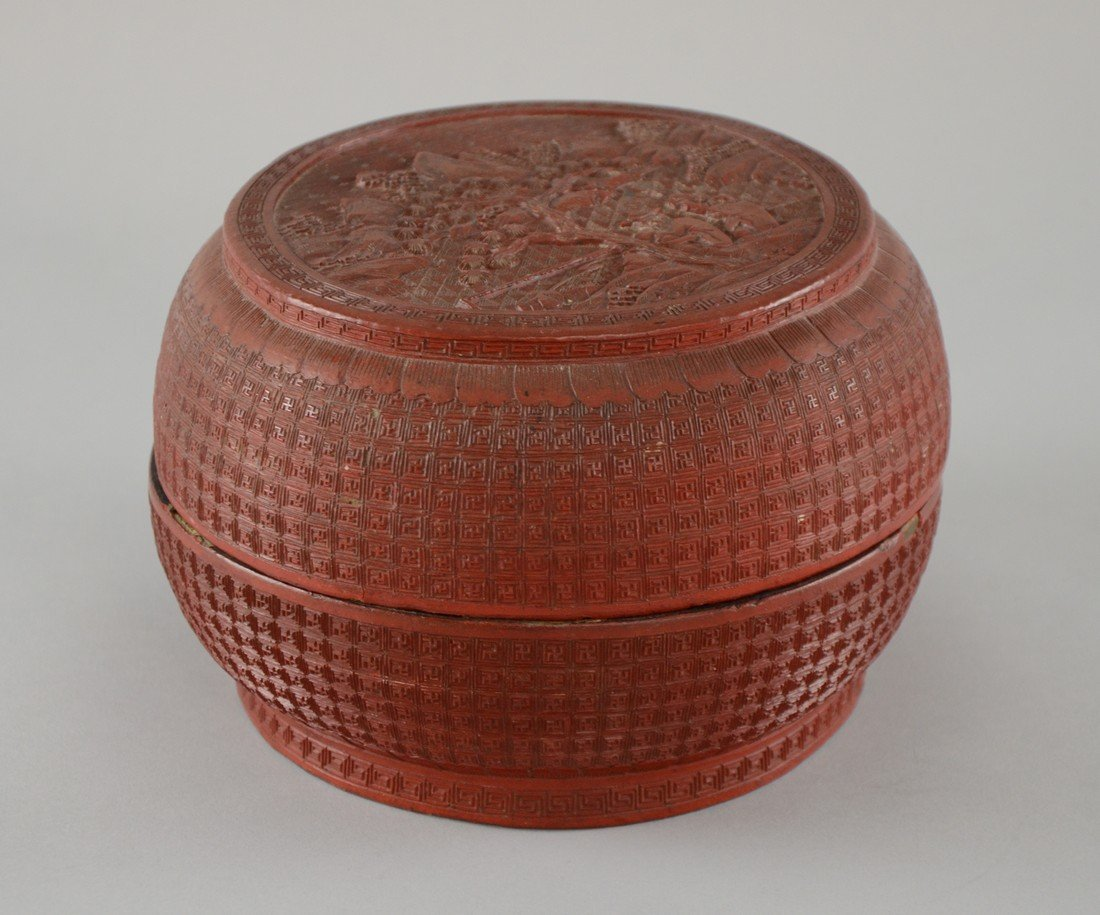 19th century Chinese red cinnabar lacquered circular