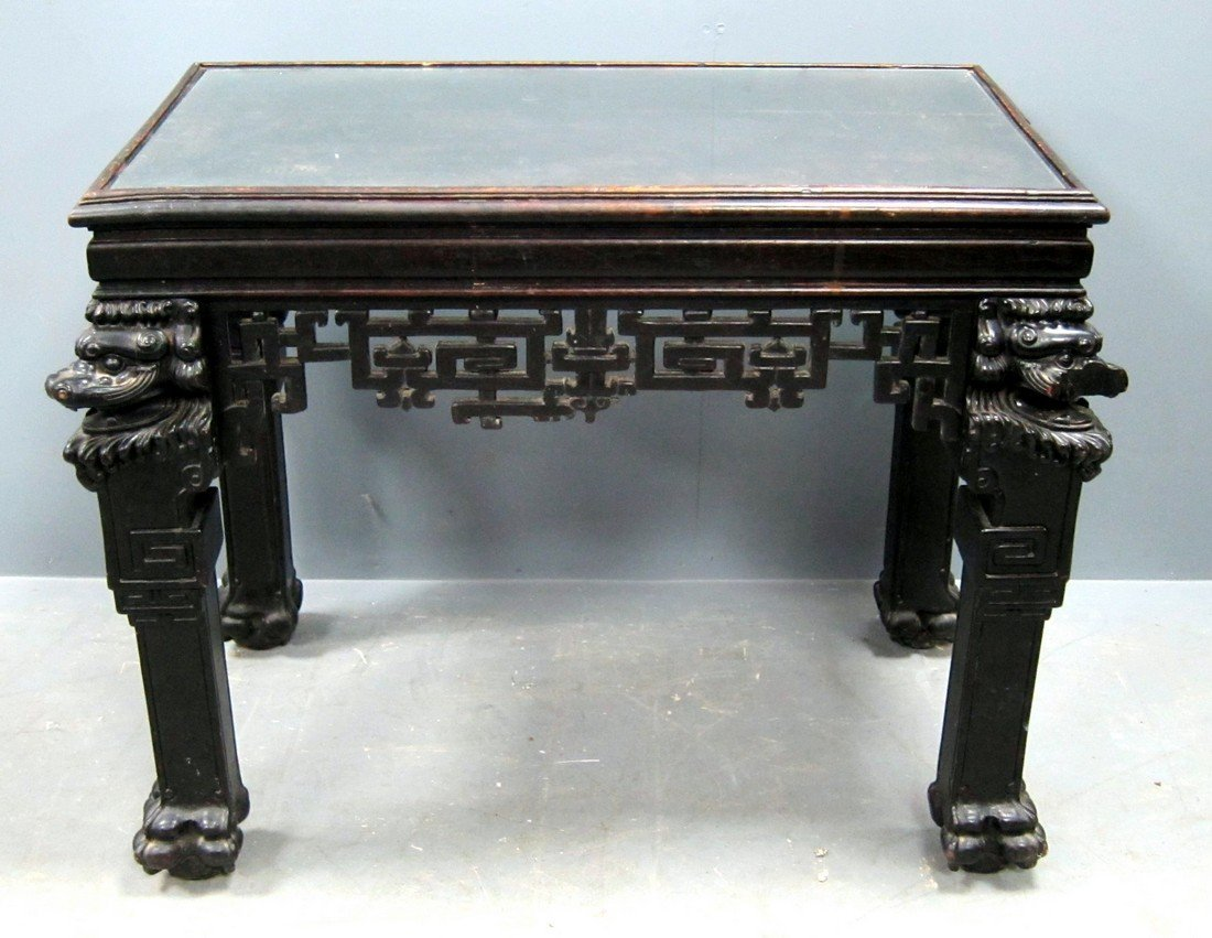 Chinese black lacquered rectangular table with carved