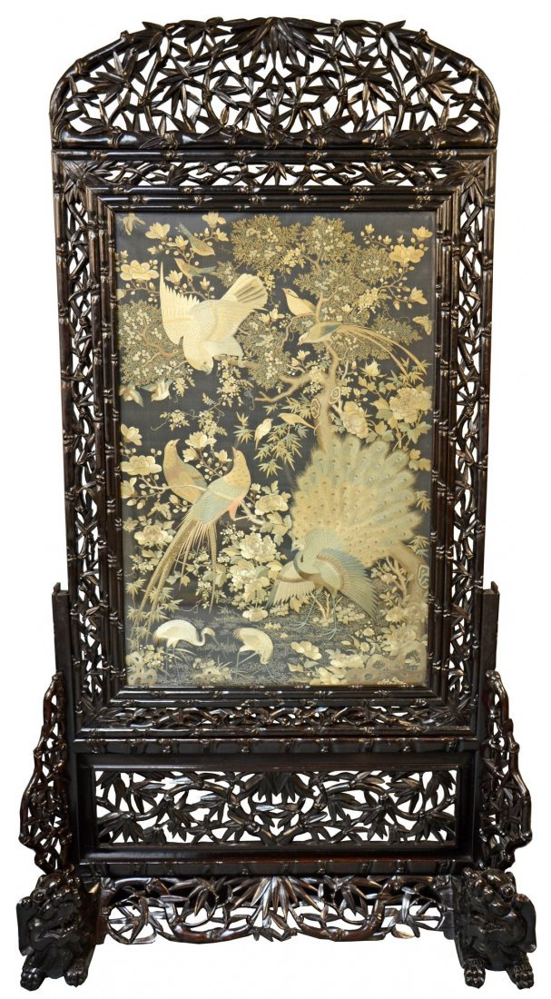 Late 19th/ early 20th century Chinese silk screen