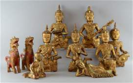 Set of six Far Eastern carved giltwood wall hanging