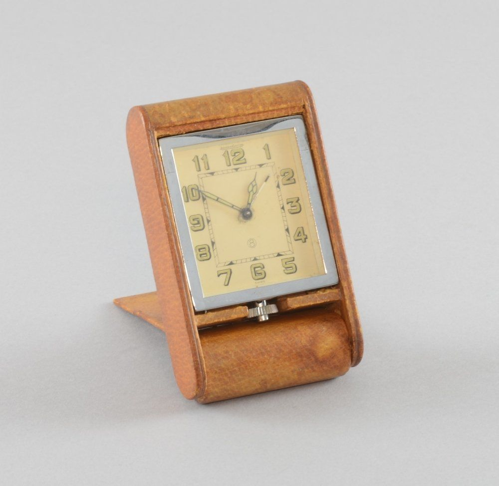 1920;s Jaeger leCoultre leather cased and chrome travel