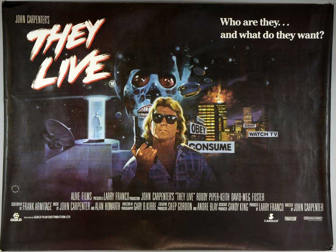1988 Movie Posters: They Live (1988) British Quad Film Poster, Sci Fi