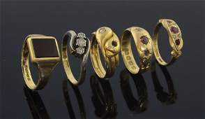 Late Victorian 18ct gold and diamond snake ring, and