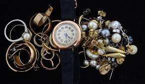 Collection of jewellery including a ladies gold watch