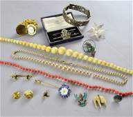Collection of costume jewellery including a coral