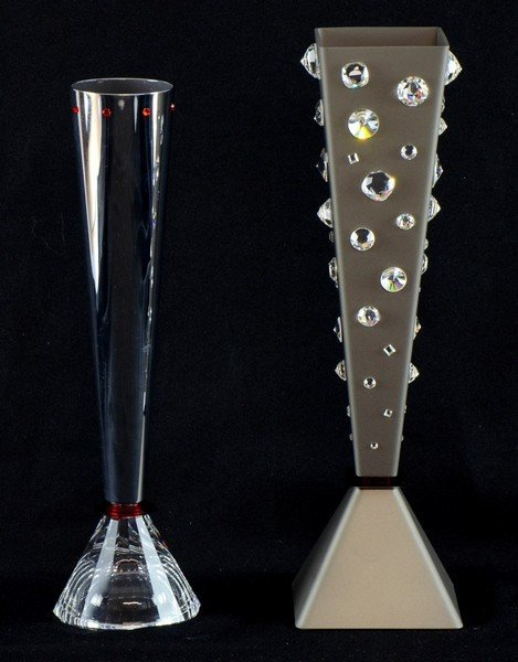 Two Swarovski crystal vases Gemini and Calix nos.
