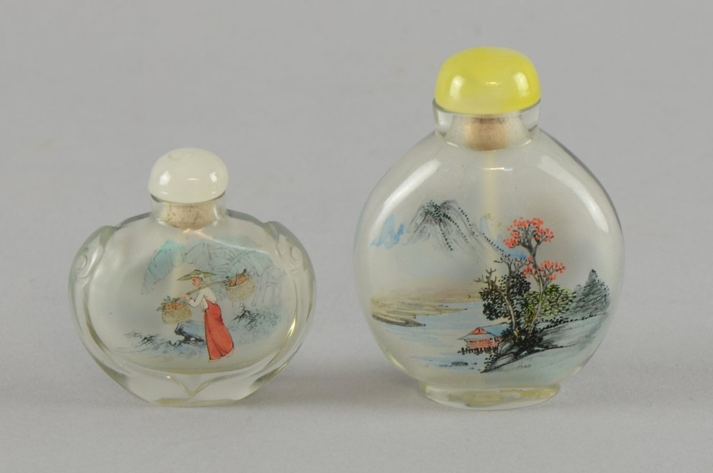 Two 20th century Chinese interior painted glass snuff
