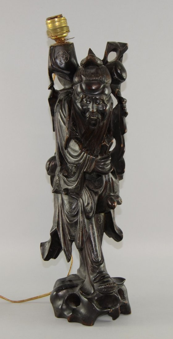 Chinese  wood carved figure converted to a lamp 50cm