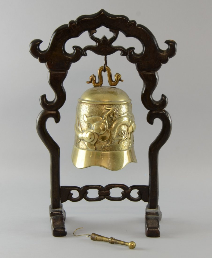 19th century Chinese polished brass bell with a dragon