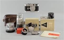 Leica M3 Rangefinder Camera, serial no. 782937, lenses
