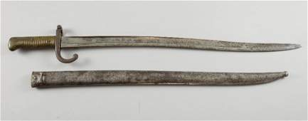 French sword bayonet, the back of the blade engraved