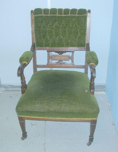 1: Edwardian rosewood open armchair