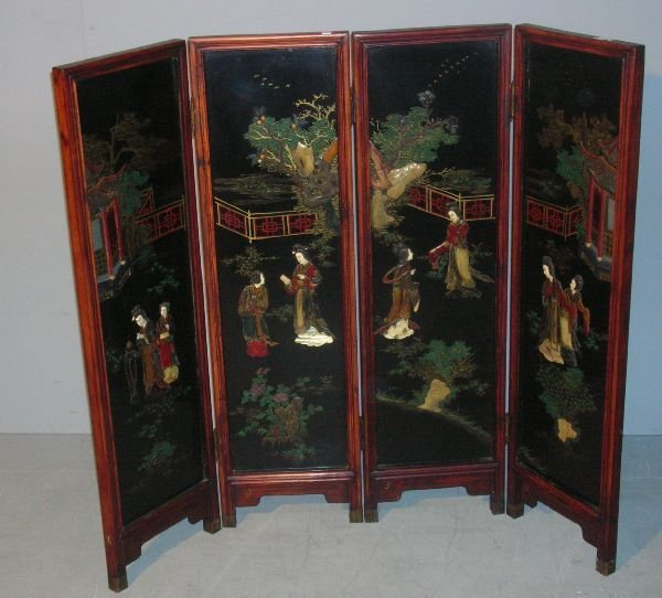3: Japanese four leaf lacquered screen