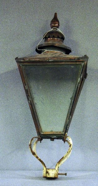 """2: Early 20th century copper street lamp, 45"""" high"""