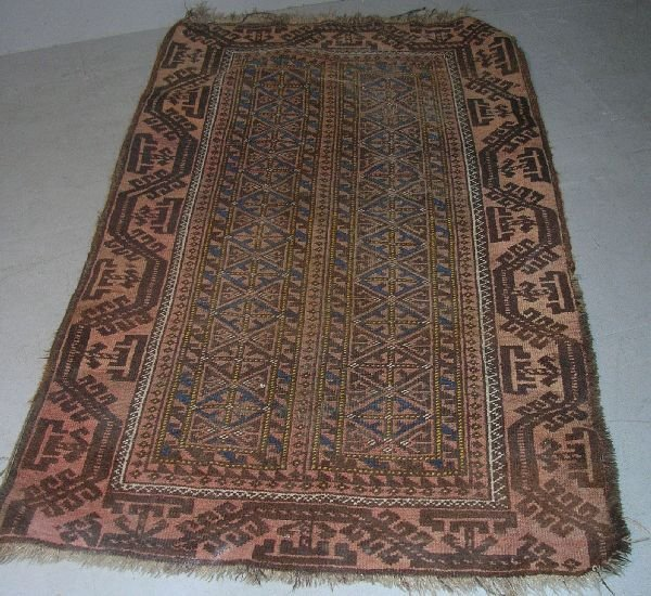 3: Balouch rug with geometric pattern, one main border,