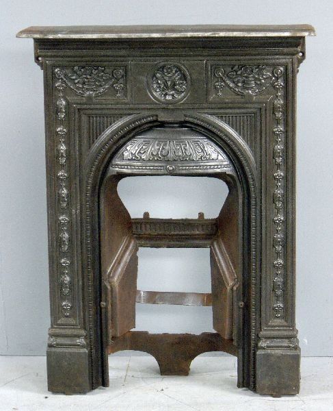 17: Victorian cast iron fire place with mantel shelf, f