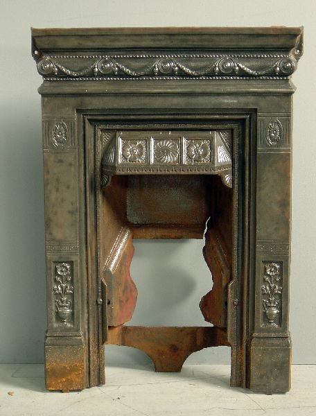 18: Victorian cast iron fire place with mantel shelf, f