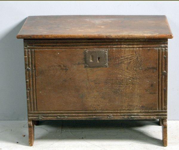 """20: 19th century oak plank coffer, 25½"""" wide"""