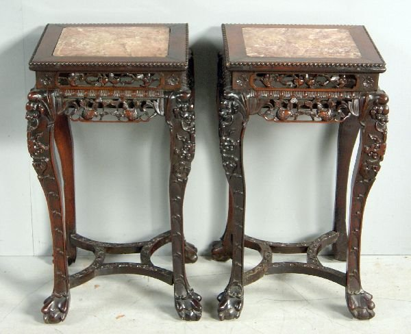 24: Pair of Chinese hardwood marble top tables, the fri