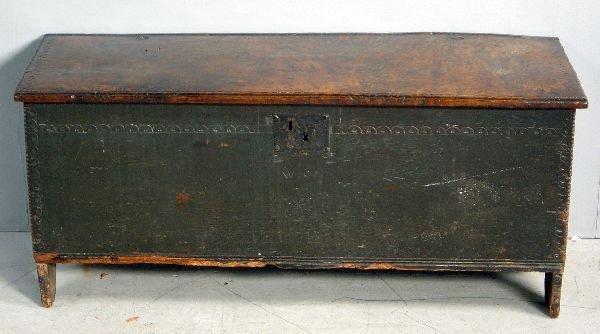 """29: 18th century oak plank coffer 42"""""""