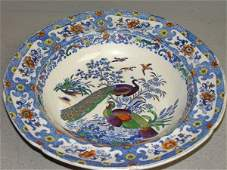 247: 19th century dish with underglaze blue and painted