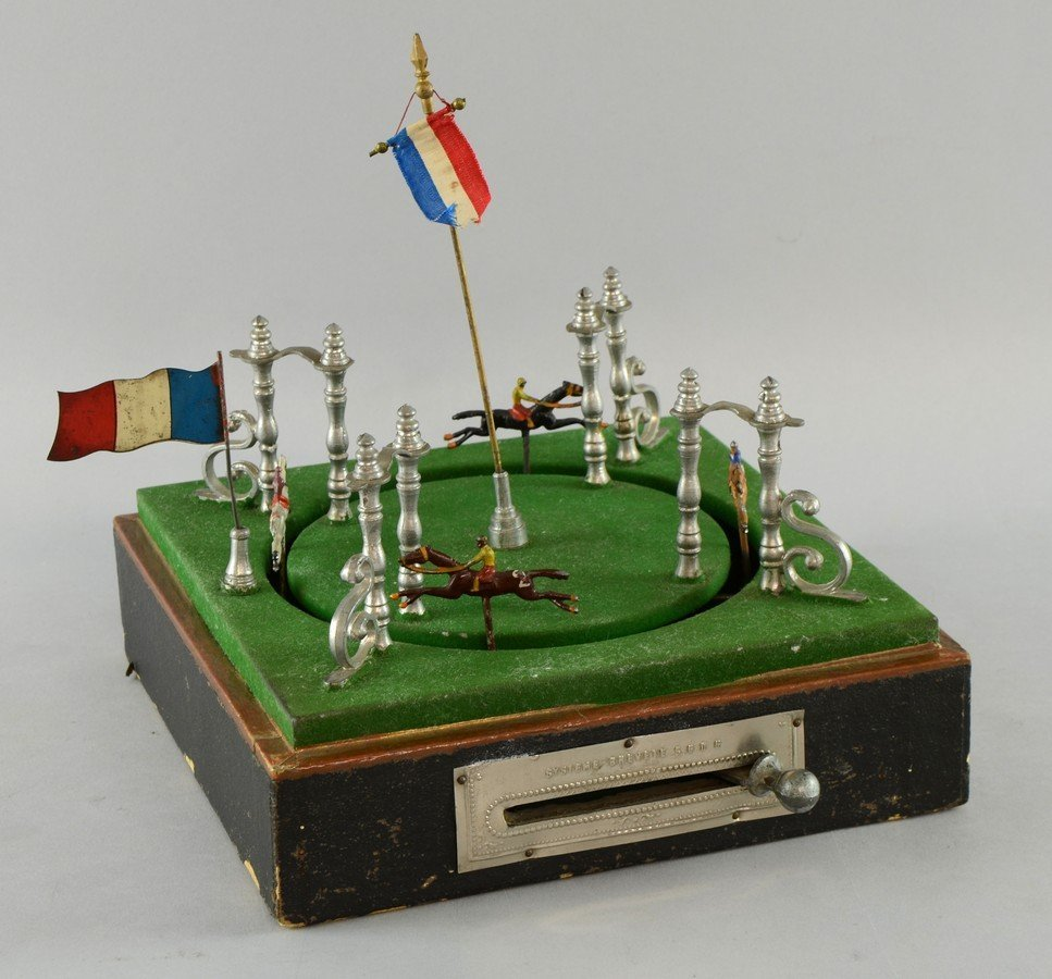 Early 20th century French mechanical horse race toy